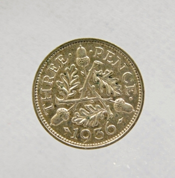 1936 Great Britain Silver Three Pence