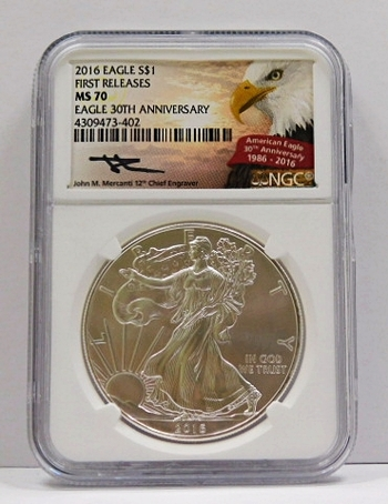 2016 American Silver Eagle - First Releases Coin - 30th Anniversary of the Eagle - Graded MS70 by NCG - SIGNATURE of John M. Mercanti; 12th Chief Engraver