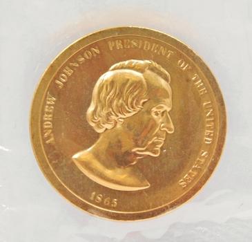 """Andrew Johnson Presidential Brass Commemorative Medallion - 1.25"""" Diameter - Proof Finish"""