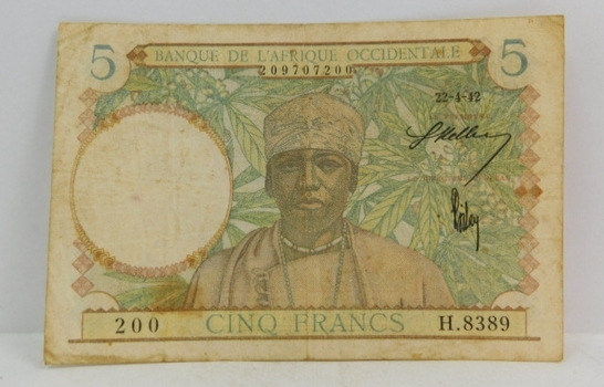 1942 French West Africa 5 Francs Bank Note