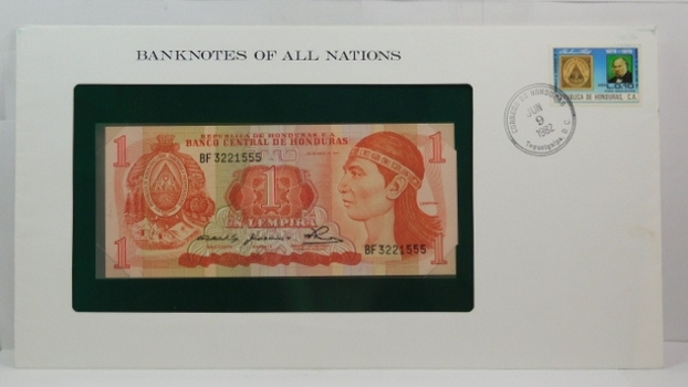 1980 Central Bank of Honduras - 1 Lempira - Banknotes of All Nations - Crisp Uncirculated Note w/First Day Cover by the Franklin Mint