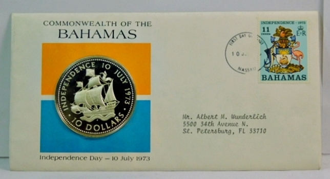 1973 $10 Commonwealth of the Bahamas - Independence Day - Santa Maria with Full Sails - 1.5 oz Proof Silver Commemorative w/First Day Issue Cachet