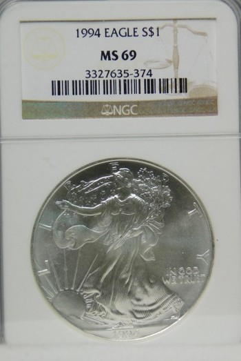 1994 NGC Graded MS 69 SILVER Eagle - Very Nice White