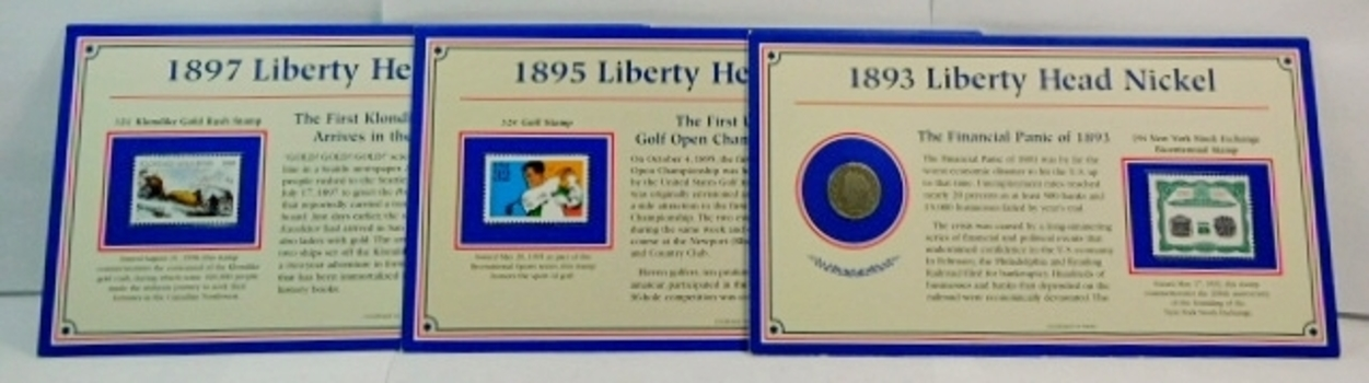 (3) Different V Nickels With Informational Card Panel Describing Events Of That Nickels Year & (1) Never Used Stamp!! Perfect Teaching Tool! Years: 1893, 1895 & 1897! Cool! You get All 3!