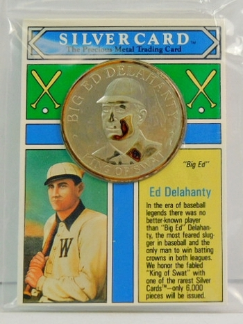 1993 Ed Delahanty Silver Card - One oz .999 Pure Silver Limited Edition Medallion - Only 6,000 Pieces Minted - In Original Sealed Plastic Envelope