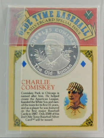 RARE 1994 Charlie Comiskey Silver Card - One oz .999 Pure Silver Limited Edition Medallion - Only 2,500 Pieces Minted - In Original Sealed Plastic Envelope
