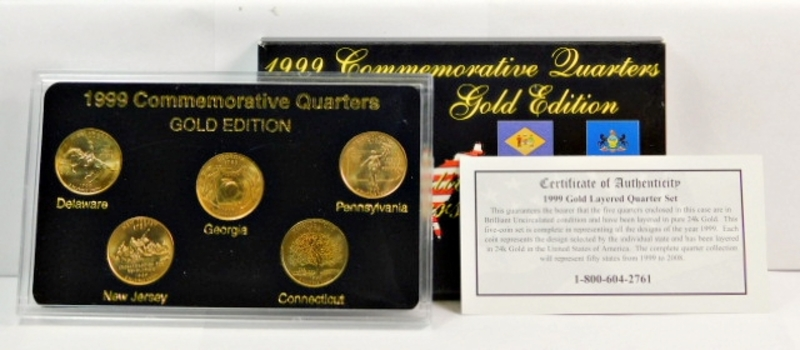 1999 Gold Edition First Year Of State Quarters-Gold Layered Uncirculated-Comes In Custom Hard Plastic Presentation Case, COA & Box! BEAUTIFUL!!!