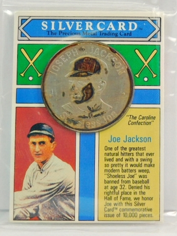 1993 Joe Jackson Silver Card - One oz .999 Pure Silver Limited Edition Medallion - Only 10,000 Pieces Minted - In Original Sealed Plastic Envelope