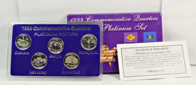 1999 Platinum Edition First Year Of State Quarters-Platinum Layered Uncirculated-Comes In Custom Hard Plastic Presentation Case, COA & Box! BEAUTIFUL!!!