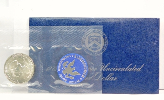 1972-S US Silver Brilliant Uncirculated Eisenhower Dollar-Original Government Packaged Blue Pack