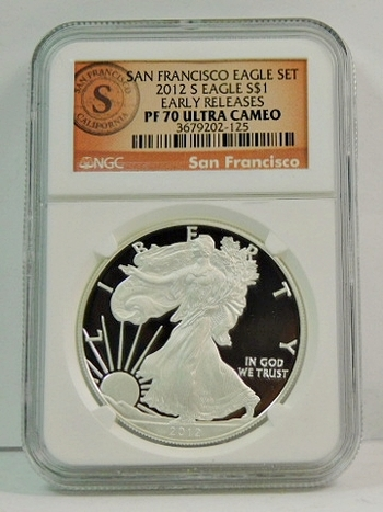 2012-S Proof American Silver Eagle - San Francisco Minted - Early Releases Coin - Graded PF70 ULTRA CAMEO by NGC