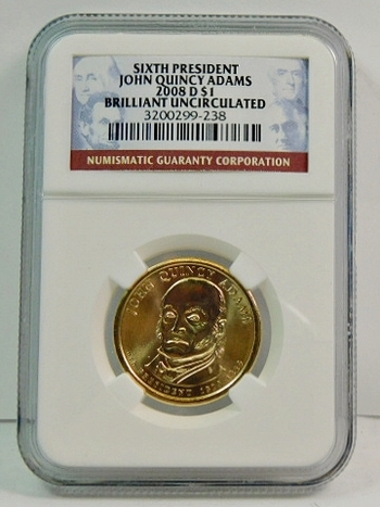 2008-D John Quincy Adams Presidential Commemorative $1 - Graded Brilliant Uncirculated by NGC