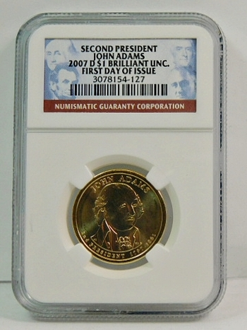 2007-D John Adams Presidential Commemorative Dollar - First Day of Issue - Graded Brilliant Uncirculated by NGC