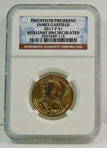 2011-P James Garfield Presidential Commemorative Dollar - Graded Brilliant Uncirculated by NGC