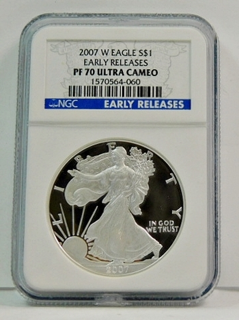 2007-W Proof American Silver Eagle - Early Releases Coin - Graded PF70 ULTRA CAMEO by NGC - West Point Minted