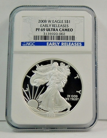 2008-W American Proof Silver Eagle - Early Releases Coin - Graded PR69 ULTRA CAMEO by PCGS - Struck at West Point