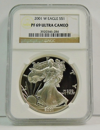 2001-W American Proof Silver Eagle - Graded PF69 ULTRA CAMEO by NGC - Struck at the West Point Mint