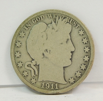 1911-P US Silver Barber Half Dollar-Original Uncleaned Condition!