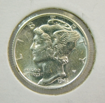 1941-S US Silver Mercury Dime! Bright Lustrous 98% Fully Split Central Bands WW2 Issue! Choice Uncirculated!