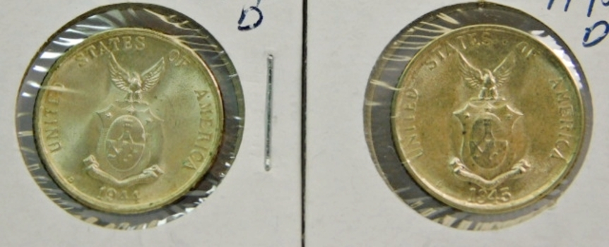 (2) Uncirculated Philappines 20 Centavos Coins-Wartime Issues-1944-D & 1945-D Both Original & Pulled From Rolls Set Aside In 1946-Nice!