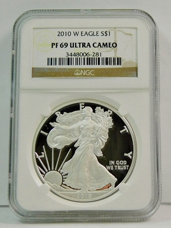 2010-W Proof American Silver Eagle - Struck at the West Point Mint - Graded PF69 ULTRA CAMEO by NGC