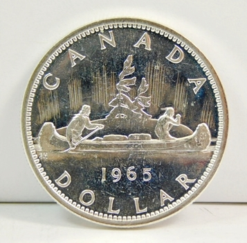 1965 Canadian Silver Dollar-Bright Brilliant Uncirculated-Choice In Every Way!