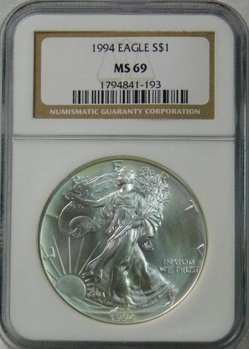 HIGH GRADE!! - 1994 American Silver Eagle - Graded MS69 by NGC