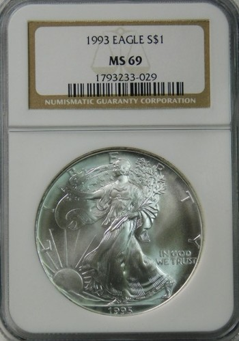 HIGH GRADE!! - 1993 American Silver Eagle - Graded MS69 by NGC