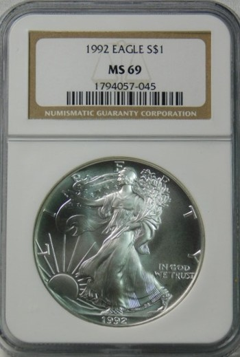 HIGH GRADE!! - 1992 American Silver Eagle - Graded MS69 by NGC