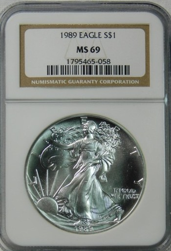 HIGH GRADE!! - 1989 American Silver Eagle - Graded MS69 by NGC