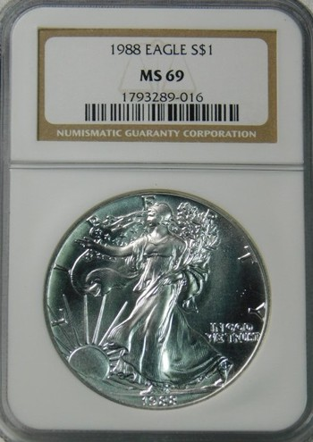 HIGH GRADE!! - 1988 American Silver Eagle - Graded MS69 by NGC