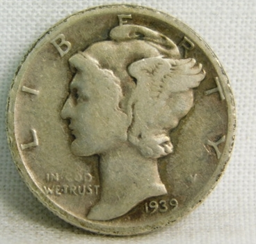 1939 Silver Mercury Head Dime - Philadelphia Minted