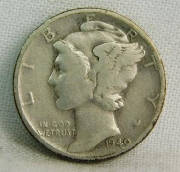 1940-D Silver Mercury Head Dime - Denver Minted