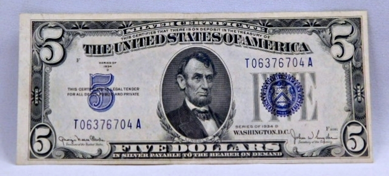 1934D $5 Silver Certificate - Payable in Silver to the Bearer - High Grade Crisp Paper