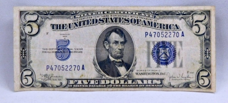 1934C $10 Silver Certificate - Payable in Silver to the Bearer - Nice Higher Grade Note