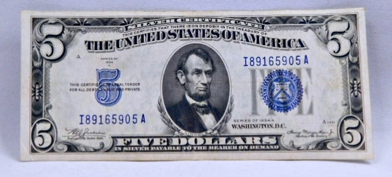 1934A $5 Silver Certificate - Payable in Silver to the Bearer - Crisp Paper