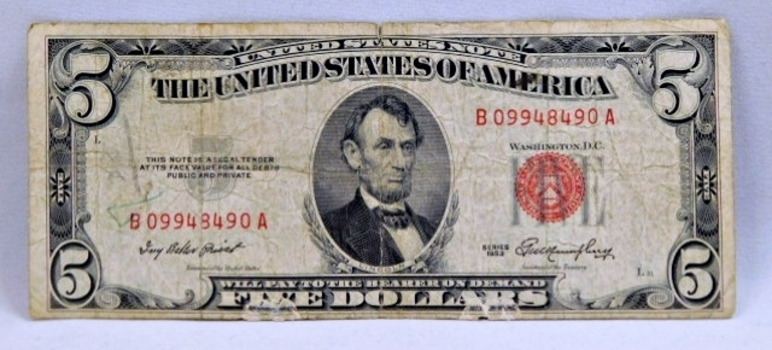 1953 $5 Red Seal U.S. Legal Tender Note