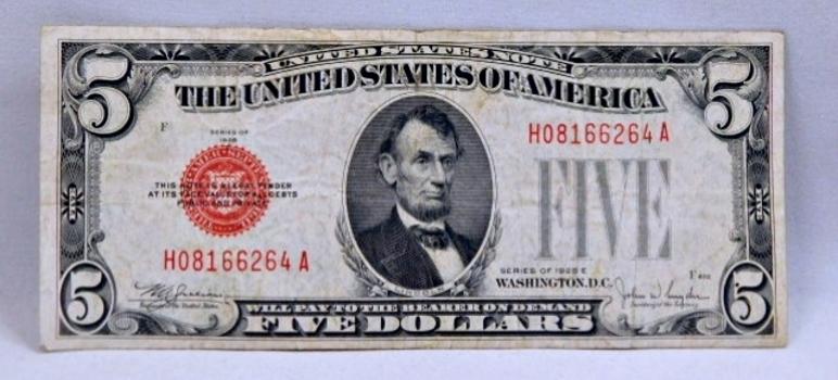 1928E $5 Red Seal U.S. Legal Tender Note