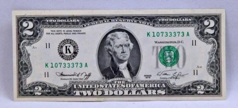 1976 $2 Bicentennial Federal Reserve Note - Dallas, Texas