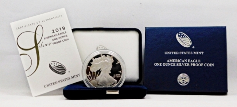 2019-W Proof American Silver Eagle - In Original Elegant Blue Velvet Case from the West Point Mint and the Outside Cover Box with COA