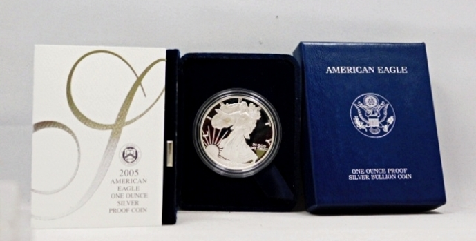 2005-W Proof American Silver Eagle - 1 oz .999 Fine Silver - In Original West Point Mint Velvet Gift Box with Outside Cover Box