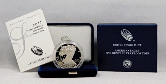 2017-W Proof American Silver Eagle - One Ounce .999 Fine Silver Dollar - In Original Velvet Box from the West Point Mint with COA and Outside Cover Box
