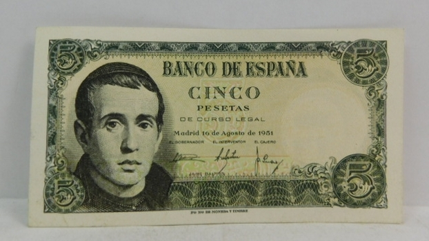 1951 Spain 5 Pesetas Bank Note - High Grade Crisp Note