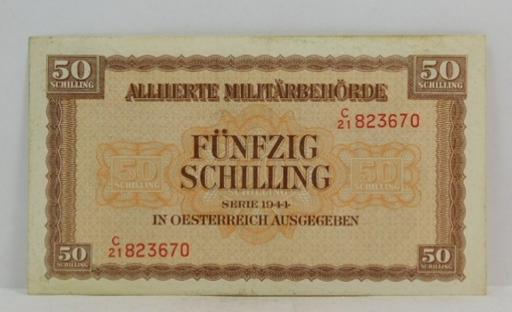 1944 Austria 50 Shilling World War II Allied Military Occupation Note
