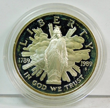 1989-S Proof Bicentennial of the Congress Commemorative Silver Dollar - In Original Mint Capsule