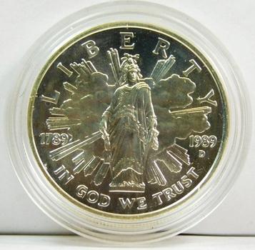 1989-D Uncirculated U.S.Congress Bicentennial Commemorative Silver Dollar - In Original Mint Capsule