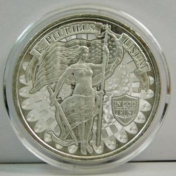 1 oz .9999 Fine Silver E Pluribus Unum - Liberty w/Sword and Snake - In God We Trust Commemorative Round - in Airtite Capsule
