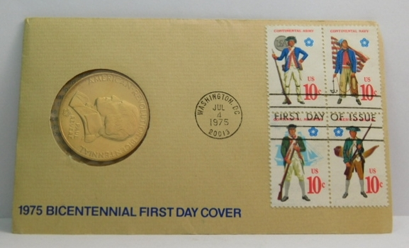 1975 Bicentennial First Day Cover With Paul Revere PROOF MEDAL-Original Government Packaging!