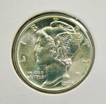 1943 US Silver Mercury Dime! Bright Lustrous With Fully Split Central Bands WW2 Issue! Choice Uncirculated!