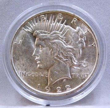 1922 Peace Silver Dollar - Excellent Detail and Luster on a High Grade Coin - Philadelphia Minted - In Protective Capsule